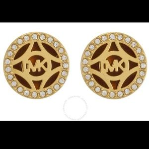 Gold-Tone Pave Open Monogram Stud Earring
